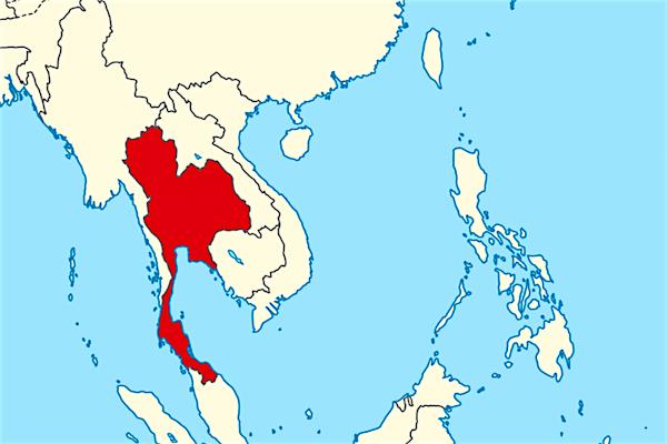 תמונת אזור דרום מזרח אסיה עם תאילנד במרכז