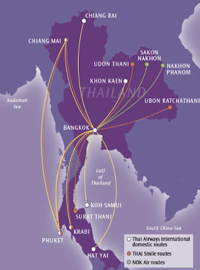 תמונת מסלולי טיסות פנים בתאילנד