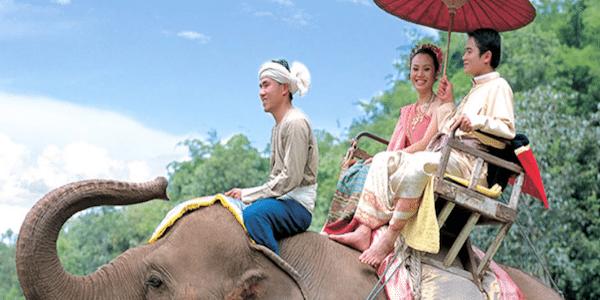 תמונת זוג מאוהב בטיול פילים - סגול סוכנות נסיעות בתאילנד