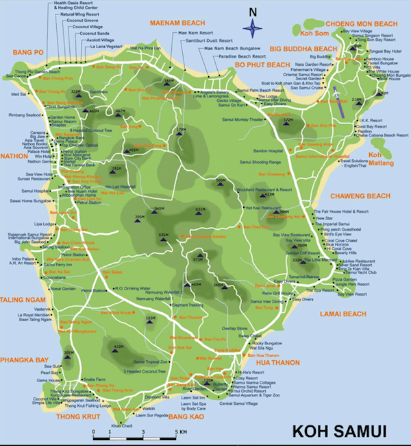 תמונת מפת קוסמוי תאילנד - סגול סוכנות נסיעות בתאילנד