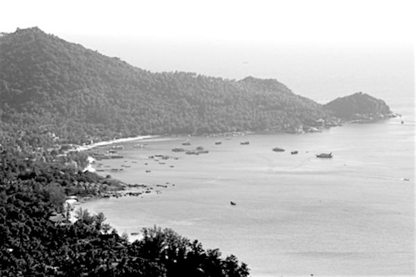 תמונת האי קו טאו - שחור לבן אילוסטרציה מתוך אתר טיול בתאילנד עם סגול