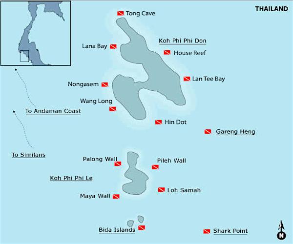 תמונה של מפת אתרי הצלילה סביב האי קופיפי
