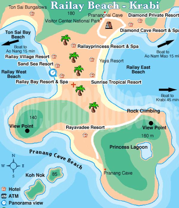 מפת ריילי ביץ עם החוף המזרחי, מערבי ועוד